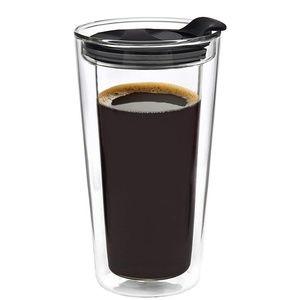 Godinger Glass Travel Coffee Mug with Lid 16oz